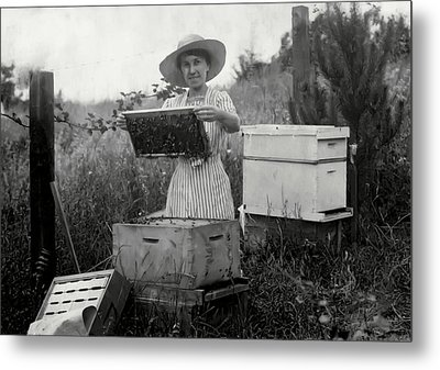 Farm Wife Beekeeper 19th Century Metal Print