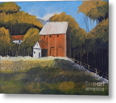 Metal Print featuring the painting Farm With Red Barn by Pamela  Meredith