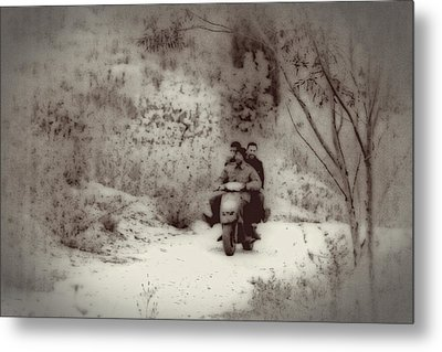 Farm Workers Riding On One Motorbike Metal Print
