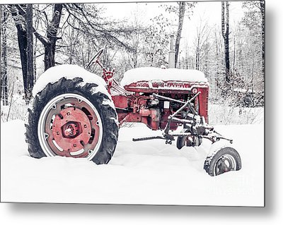 Farmall Super C Tractor In Winter Metal Print by Edward Fielding