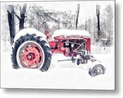 Farmall Super C Tractor In Winter Watercolor Metal Print by Edward Fielding