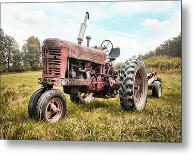 Farmall Tractor Dream - Farm Machinary - Industrial Decor Metal Print by Gary Heller