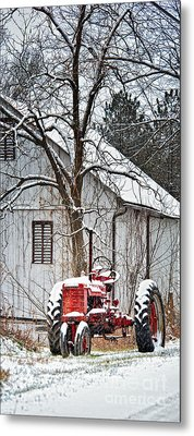 Farmall Tractor In Winter Metal Print by Timothy Flanigan