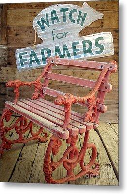 Farmer Bench Metal Print