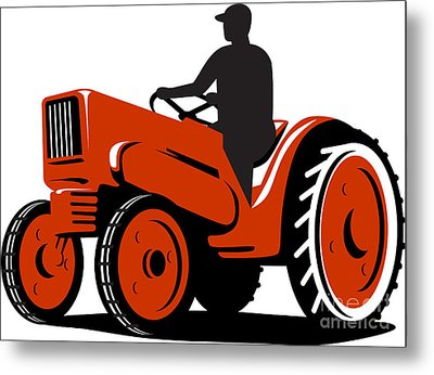 Farmer Driving Vintage Tractor Retro Metal Print by Aloysius Patrimonio