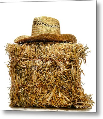 Farmer Hat On Hay Bale Metal Print by Olivier Le Queinec