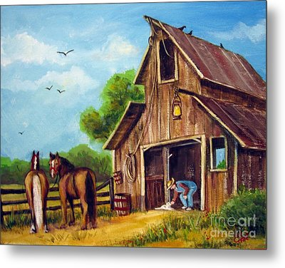 Metal Print featuring the painting Farmer Scene by Carol Hart