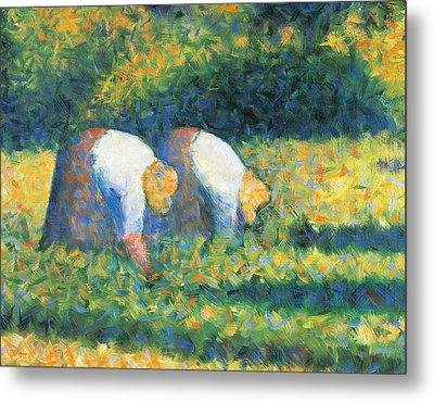 Farmers At Work Metal Print by Georges Seurat