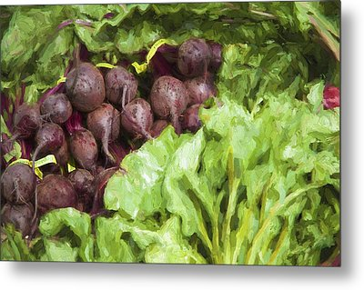 Farmers Market Beets And Greens Metal Print by Carol Leigh