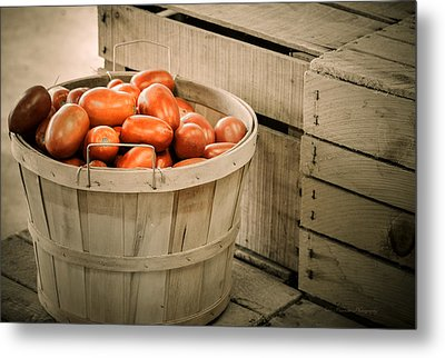 Farmers Market Plum Tomatoes Metal Print by Julie Palencia