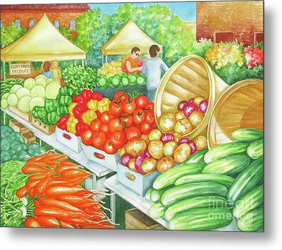 Metal Print featuring the painting Farmers Market View by Inese Poga