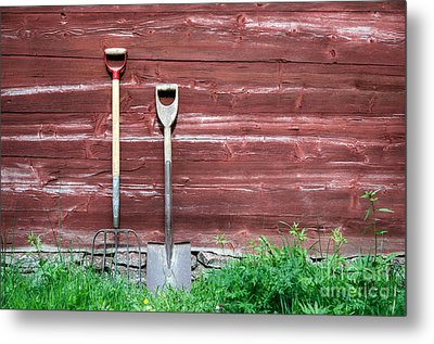 Metal Print featuring the photograph Farmers Old Tools by Kennerth and Birgitta Kullman