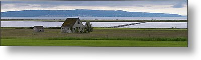 Farmhouse In A Field Along Shore Metal Print by Panoramic Images