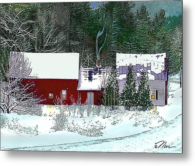 Farmhouse In Winter Metal Print by Nancy Griswold
