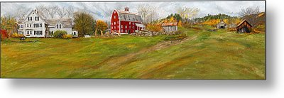 Red Barn Art- Farmhouse Inn At Robinson Farm Metal Print by Lourry Legarde