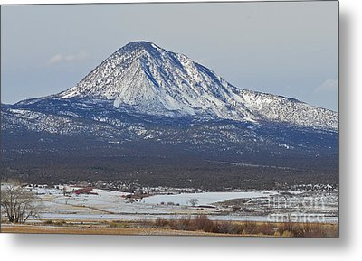 Farmland Under The Mountain Metal Print by Meandering Photography