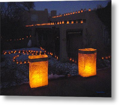 Farolitos Or Luminaria On Wall Metal Print