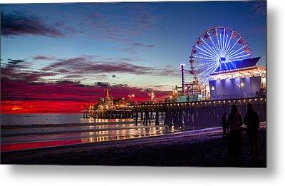 Ferris Wheel On The Santa Monica California Pier At Sunset Fine Art Photography Print Metal Print