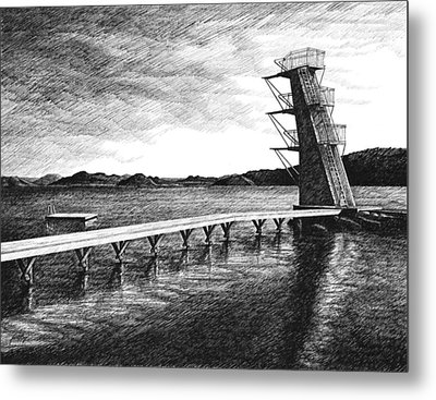 Farsund Badehuset In Ink Metal Print by Janet King