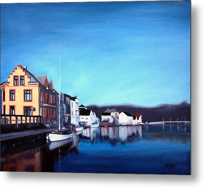 Farsund Dock Scene I Metal Print by Janet King