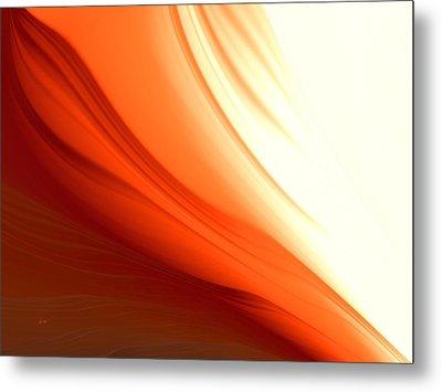 Metal Print featuring the digital art Glowing Orange Abstract by Gabriella Weninger - David