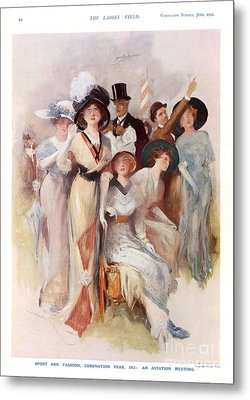 Fashion At Ascot Races 1911 1910s Uk Cc Metal Print by The Advertising Archives