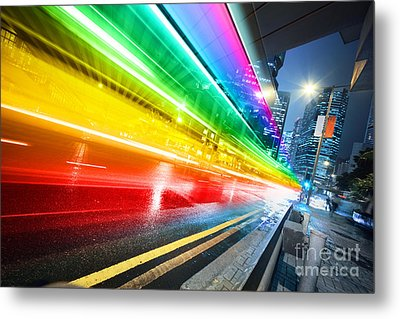 Fast Moving Bus At Night Metal Print by Konstantin Sutyagin