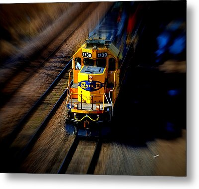 Metal Print featuring the photograph Fast Moving Train by Karen Kersey