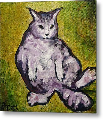 Metal Print featuring the mixed media Fat Cat by Kenny Henson
