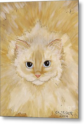 Metal Print featuring the painting Fat Kitty by Alison Caltrider