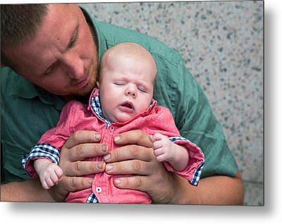 Father And Baby Son Metal Print