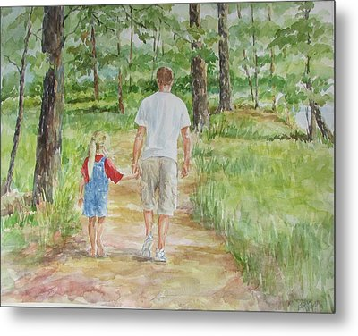 Father And Daughter Walk Metal Print by Gloria Turner