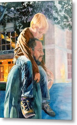 Father And Son In Morning Mist Metal Print by Maureen Dean