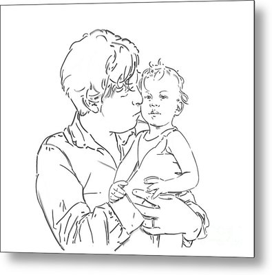 Metal Print featuring the drawing Father And Son by Olimpia - Hinamatsuri Barbu