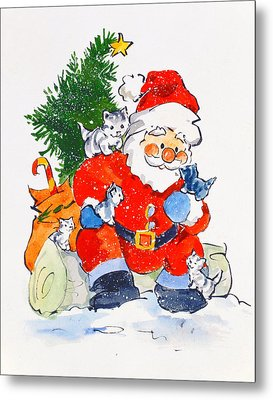 Father Christmas And Kittens, 1996  Metal Print by Diane Matthes