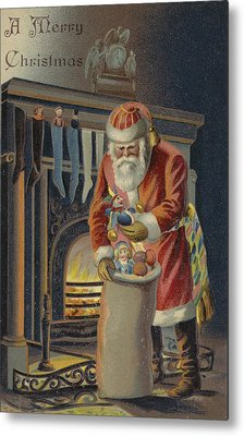 Father Christmas Filling Children's Stockings Metal Print