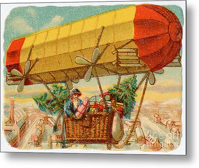 Father Christmas In Airship Metal Print by Mary Evans