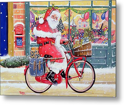 Father Christmas On A Bicycle Wc Metal Print by Tony Todd