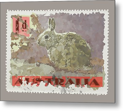 Faux Poste Bunny 1d Metal Print by Carol Leigh