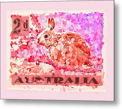 Faux Poste Bunny 2d Metal Print by Carol Leigh