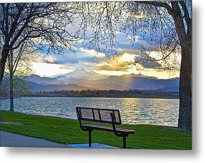 Favorite Bench And Lake View Metal Print by James BO  Insogna