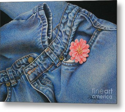 Metal Print featuring the painting Favorite Jeans by Pamela Clements