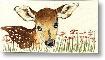 Fawn In The Flowers Metal Print by Juan  Bosco