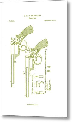 F.b.e Beaumont Revolver Patent Metal Print by Georgia Fowler