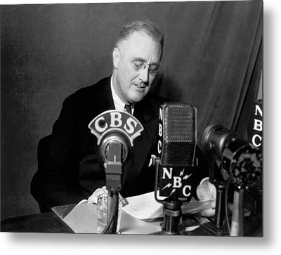 Fdr Addresses Labor Strikes Metal Print by Underwood Archives
