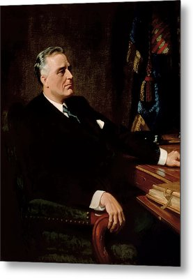 Fdr Official Portrait  Metal Print by War Is Hell Store