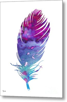 Feather 4 Metal Print by Watercolor Girl