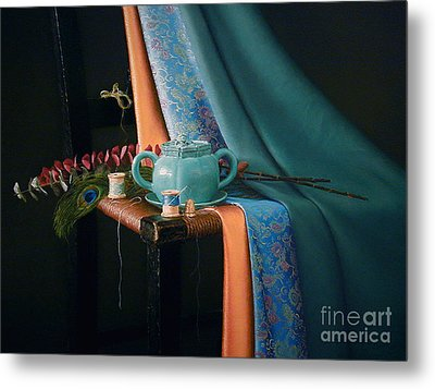 Feather And Threads Metal Print by Barbara Groff