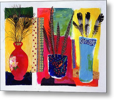 Feathered Triptych Metal Print by Diane Fine