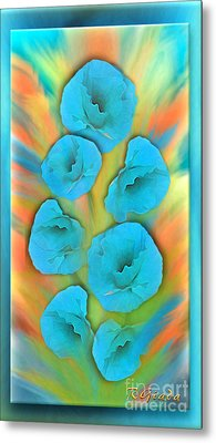 Feathered Turquoise Poppies Metal Print by Giada Rossi